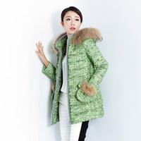 2014 raccoon fur detachable cap female medium-long down coat thickening