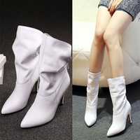 2015 New Genuine leather cowhide medium-leg boots Sexy Bride Boots Thin heels Women Ankle boots Short boots White High Quality