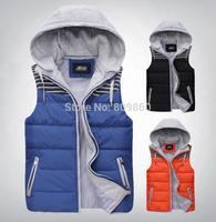 2014 autumn and winter zipper slim men hooded lovers down vest condy colors down coats