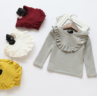 2014 NEW Autumn children's clothing baby girls T-shirt 100%cotton candy color laciness long-sleeve top
