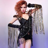 HZ-18 Tassel  Female singer paillette Performance  wear Beyonce costume Lady gaga costume Sports costumes