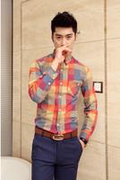 2014 autumn the latest china fashion Mens shirts casual colorful plaid casual long-sleeve slim shirt M-XXXL free shipping