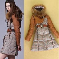 New winter women's wadded jacket long design down jacket raccoon fur thick hooded slim waist cotton-padded jacket outerwear coat