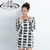 2014 half sleeve one-piece dress plus size shirts women women's cardigan t-shirt autumn female