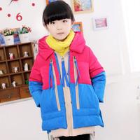 120 - 160 cm girls winter coat 80% white duck down  warm winter jacket for girls fur collar  thickening children outerwear