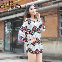 2014 autumn long-sleeve cashmere large basic shirt print autumn and winter women sweater loose t-shirt