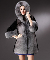Free shipping 2014 new winter coat fox fur collar and long sections ovo faux fur hooded jacket coat