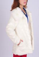 Free shipping 2014 winter new Korean women faux fur rabbit coat long section of thick mink collar cardigan jacket