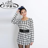 Long-sleeve dress 2014 women's set plus size clothing sweater female cardigan spring and autumn