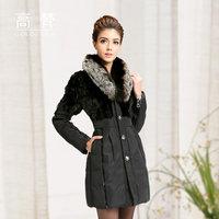 2014 winter luxury fox fur medium-long women's down coat