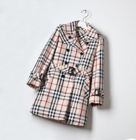 4 - 12 years Big girls trench coat B** brand plaid trench girl double breasted trench coat autumn kids jackets 160 150 140 130