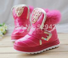 invierno 2014 niños botas de piel de conejo zapatos botas de nieve para niños y niñas más terciopelo algodón velcro niño botas(China (Mainland))