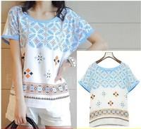 Plus size clothing  summer short-sleeve T-shirt plus size  chiffon shirt