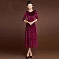 2014 spring and autumn quality gold velvet embossed long-sleeve dress elegant women's one-piece dress