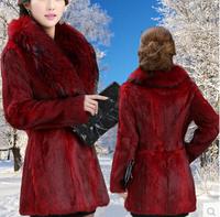 Ms. shipping 014 new fox fur collar coat Korean Women Rabbit fur coat faux fur coats long sections