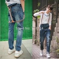 Free shipping 2014 new fashion men skinny jeans vintage wash water suspenders slim denim jeans brand mens overalls
