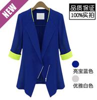 Fashion autumn women's 2014 color block patchwork slim suit blazer outerwear thin