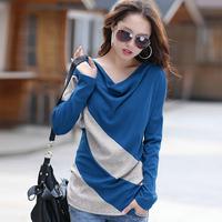 Plus size clothing long-sleeve T-shirt Women loose basic shirt free shipping