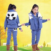 children's clothing 2014 winter child swatshirt piece set plus velvet thickening big boy child cartoon set(coat+pant+vest)