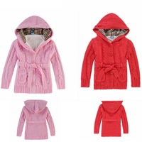 2014 European style brand new winter sweater cardigan for baby girls thick velvet jacket clothing free shipping