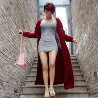 Wire 2014 women's ultra big long cardigan marten velvet sweater outerwear overcoat sweater