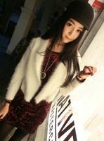Fashion small lapel kojah cashmere cardigan marten velvet fur short design sweater