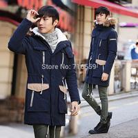 2014 New Hot Selling Sweet Lovers Design Long Wadded Jacket Mens Thickening Wadded Jacket Slim Jacket Coat Size: S-XXL