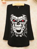 2014 spring and summer o-neck women's sweatshirt female long-sleeve top loose plus size basic shirt