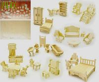 Wooden 3d puzzle diy mini furniture set model toy