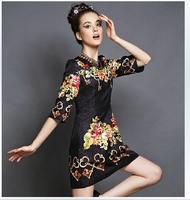 S-5XL Europe Fashion Brand Design Runway Dress 2014 New Autumn Retro Flower Printed Jacquard Dress Plus Size Fat Women Clothing