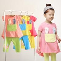 2014 summer children sets baby girls short-sleeve set 100% cotton rabbit girl children's clothing