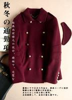 2014 autumn handmade double faced fleece short overcoat red for women