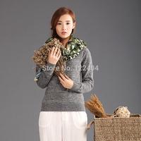Women's short design mink sweater ab slim o-neck sweater female basic shirt pullover sweater