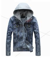 Autumn male denim jacket slim water wash denim coat the trend denim outerwear male denim