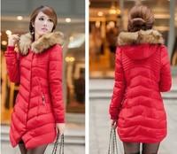 2014 Women's Down Winter Warm  Wadded Jacket Cotton-padded Jacket Women's Slim Long plus size Winter Thickening Outerwear