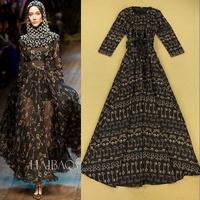 2014 autumn fashion ladies elegant key print expansion bottom full dress one-piece dress