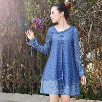 [LYNETTE'S CHINOISERIE - YHT ] Autumn Original Women Plus Size Organza Patchwork Elegant Loose Cotton Dress Sz S M L XL XXL XXXL
