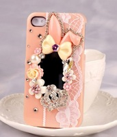 For  for iphone   5s phone case new arrival for  for apple   5 rabbit rhinestone phone case mirror mobile phone case shell