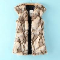 colete de pele falso 2014 spring and summer fashion color block decoration plaid pattern vest women's