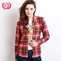 Autumn slim shirt women's cotton sanded 100% high grade cotton long-sleeve plaid shirt