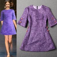 Fashion 2014 ladies elegant purple jacquard luxury half sleeve slim dress, high-end EU style brand dress