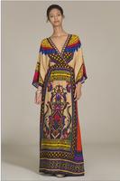 Bohemia dresses Aztec dress Long Colorful Tribal Print Kimono Maxi Dress Boho dresses