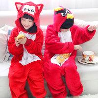 Flannel animal fox one piece sleepwear cartoon long-sleeve lounge autumn and winter coral child male