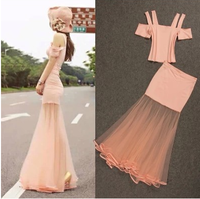 New 2014 Strapless slim short t-shirt high waist gauze big fish tail skirt set free shipping
