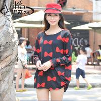 Large cashmere autumn long-sleeve plus size clothing loose long design print one-piece dress t-shirt