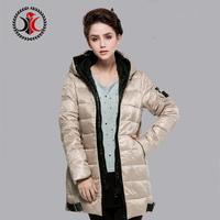 2014 shiny fashionable casual slim medium-long down coat female