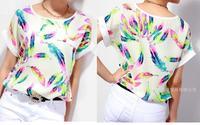 New fashion feather print chiffon t shirt women short sleeve chiffon blouse blusas femininas 2014  women clothing