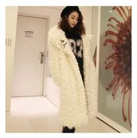 2014 new design lady winter fur plush grass leather coat lapel warm lamb's wool coat long paragraph Paul