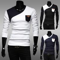 2014 free shippingClassic color block male basic shirt long-sleeve color block decoration slim v-neck T-shirt