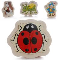 Wool 4 preschool jigsaw puzzle animal cartoon wooden baby toy 0-1 - 2 - 3